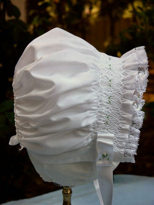 Smocked White Baby's Bonnet - Abbey