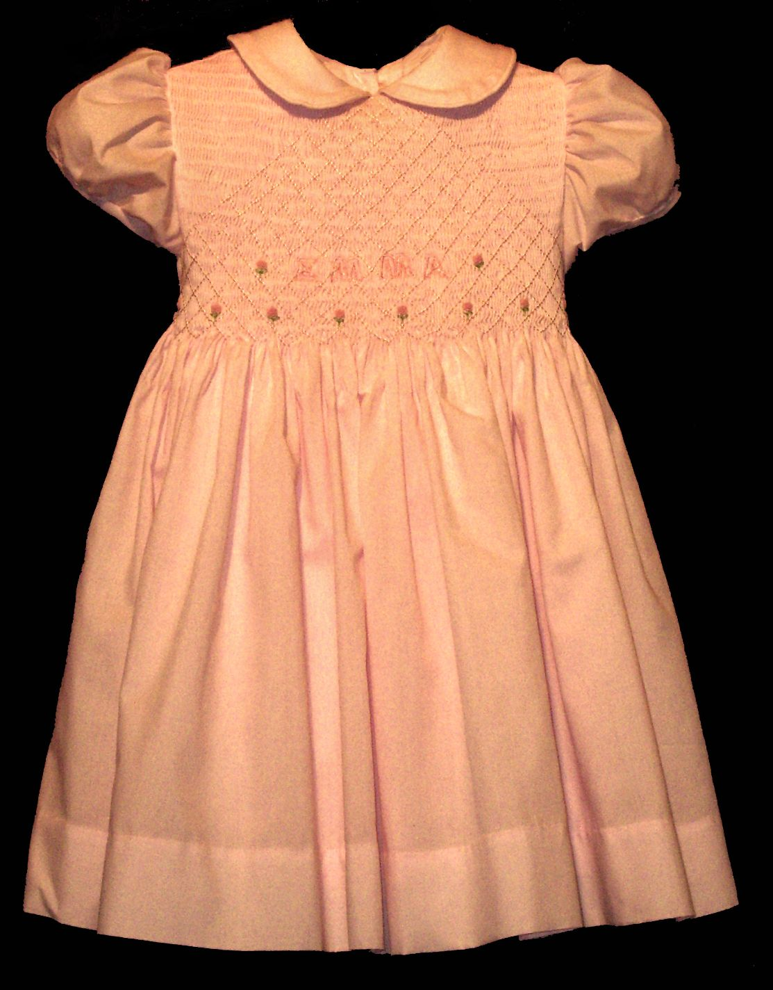 Hand Smocked Pink Dress Embroidered with Name of your choice - Emma
