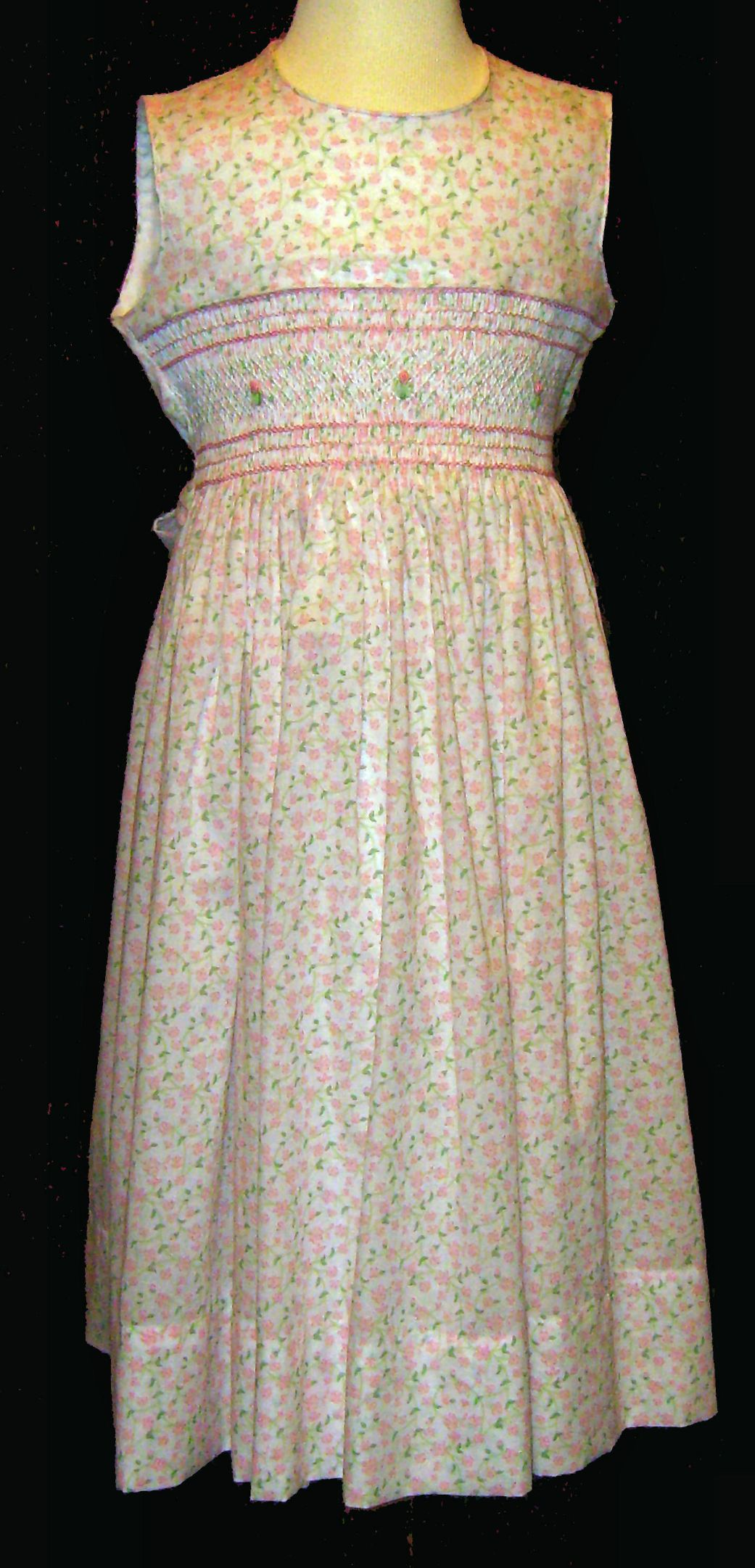Hand Smocked Floral Pink Dress - Faith