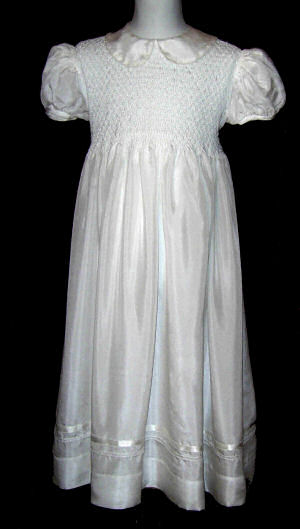Hand Smocked Whole Bodice highlighted with white glass beads High Yoke White Silk Dress - Florence
