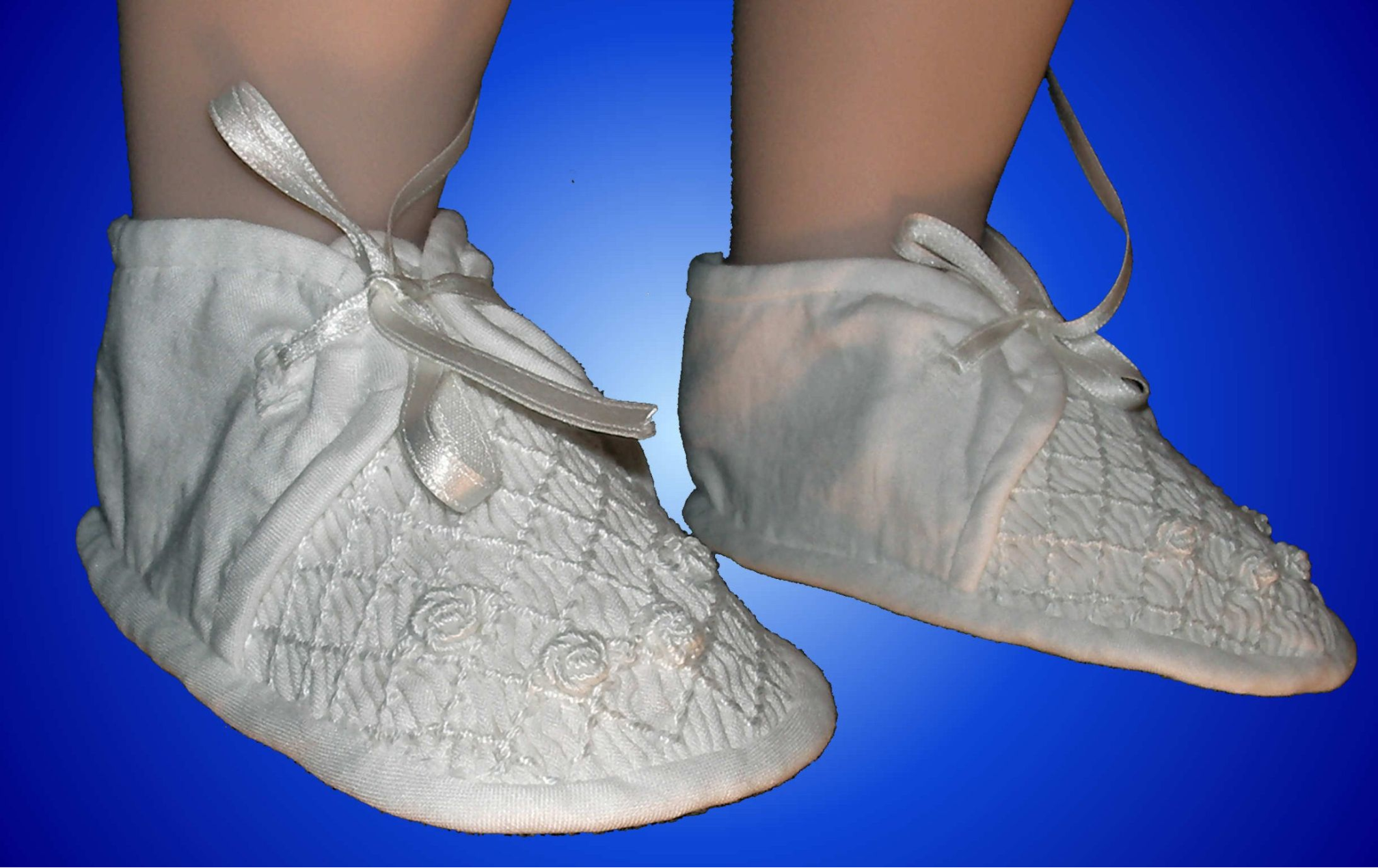 Hand Smocked Christening Booties