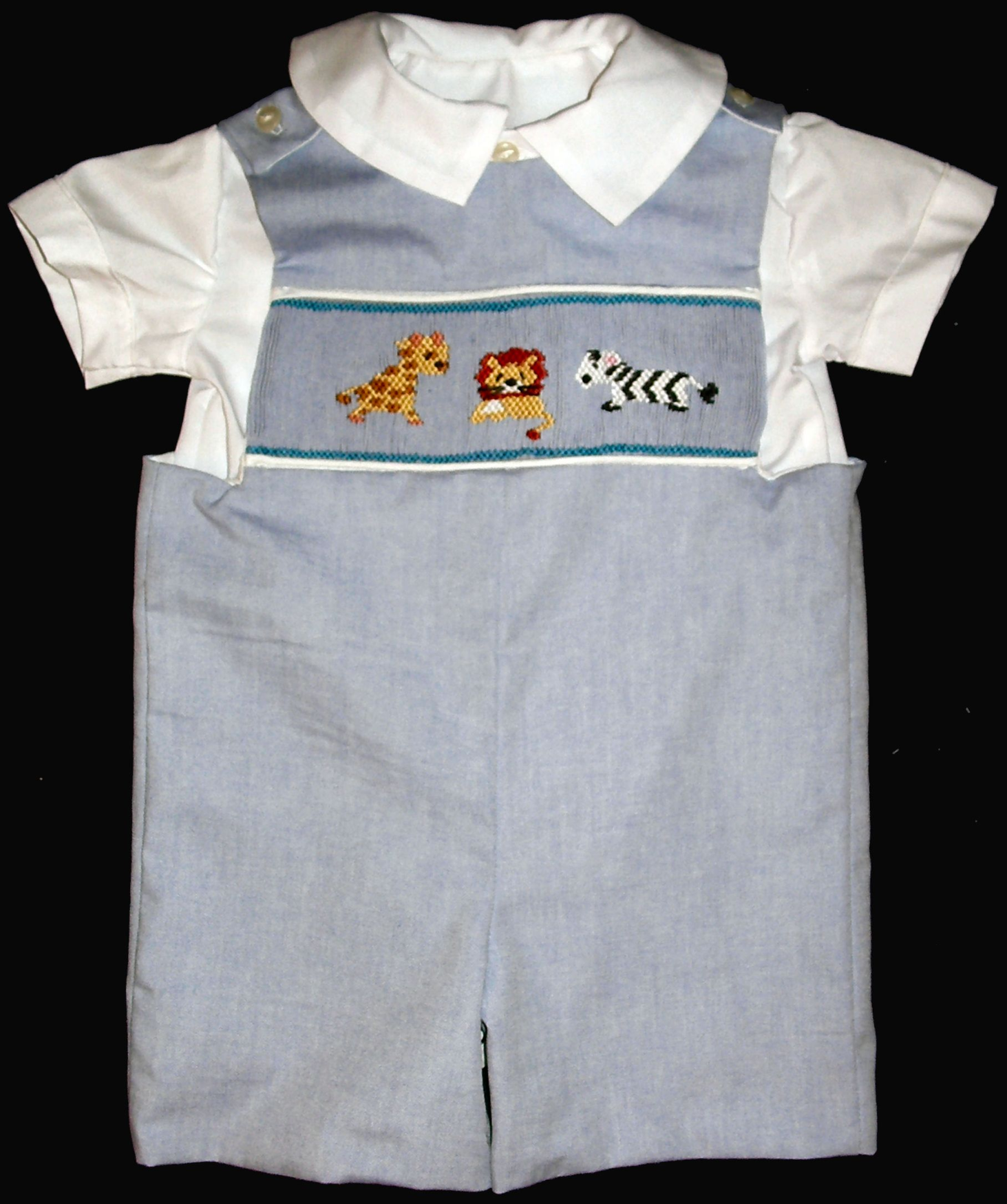 Giraffe Lion Zebra Boys Blue Shortall - Romper Shirt Set #1