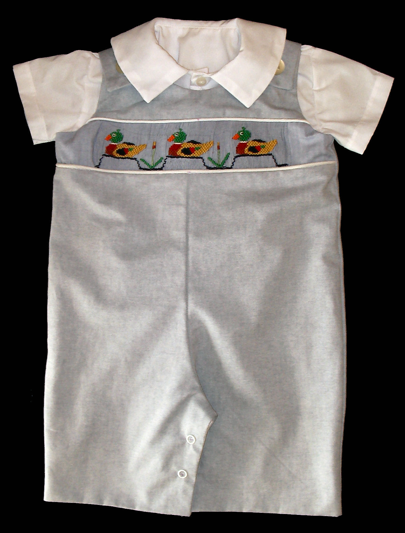 Mallards Picture Smocking Insert Boys Romper