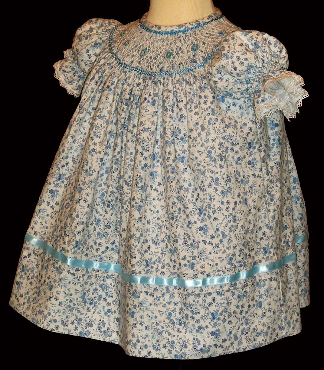 Bishop blue print Hand smocked dress - Sabrina