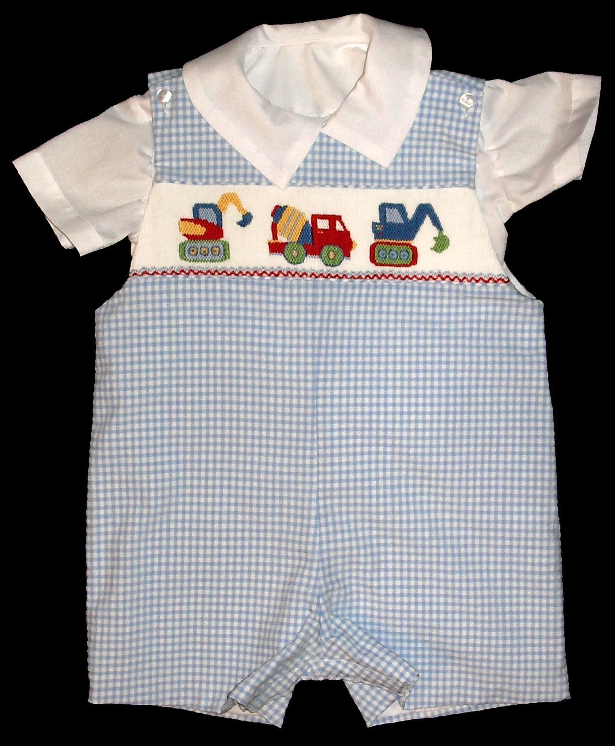 Three_Construction_Trucks Boys Shortall - Romper - Shirt - Set