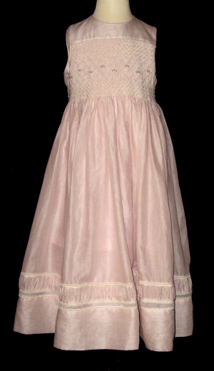 Hand Smocked Whole Bodice High Yoke Pink Dress - June