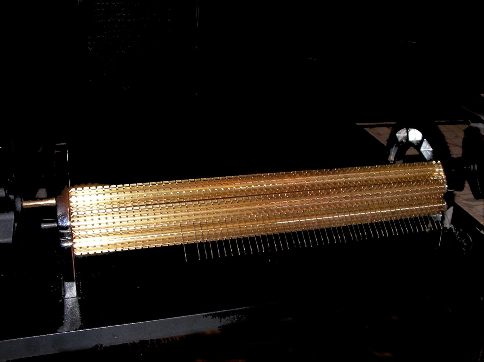 note the modified pleating machine cylinders, to allow using more needles