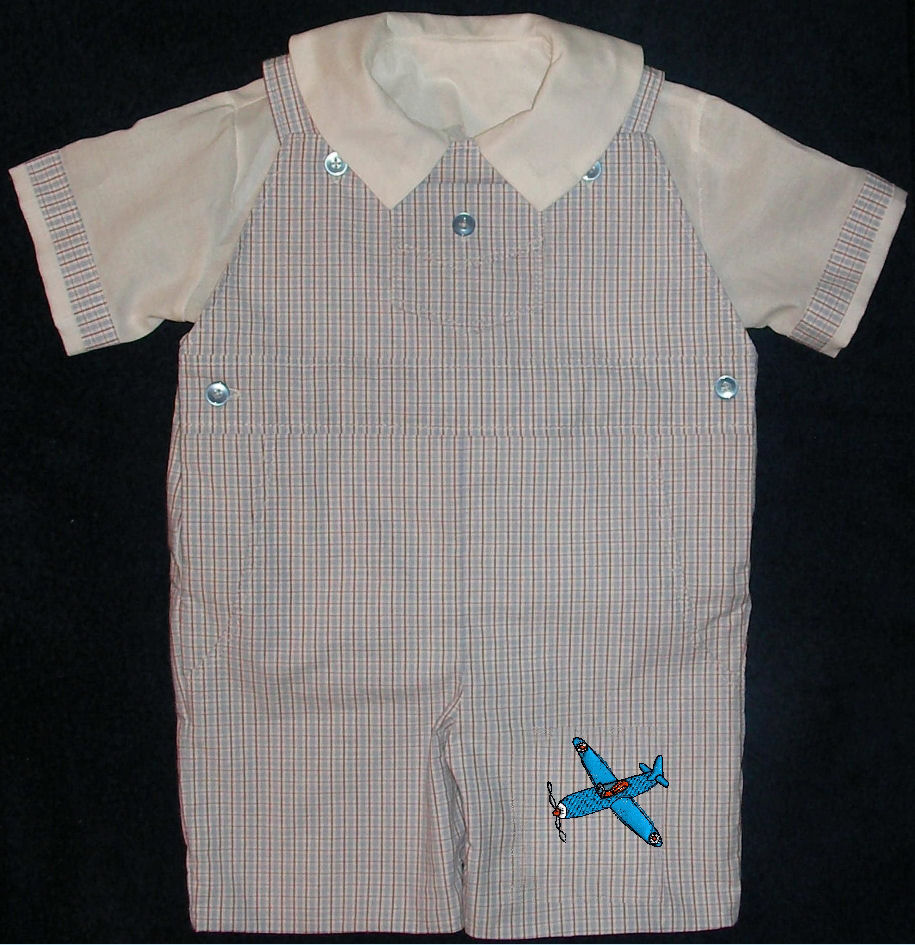 Machine Embroidered Airplane Boys Shortall - Romper - Playsuit - Overall - Dungaree