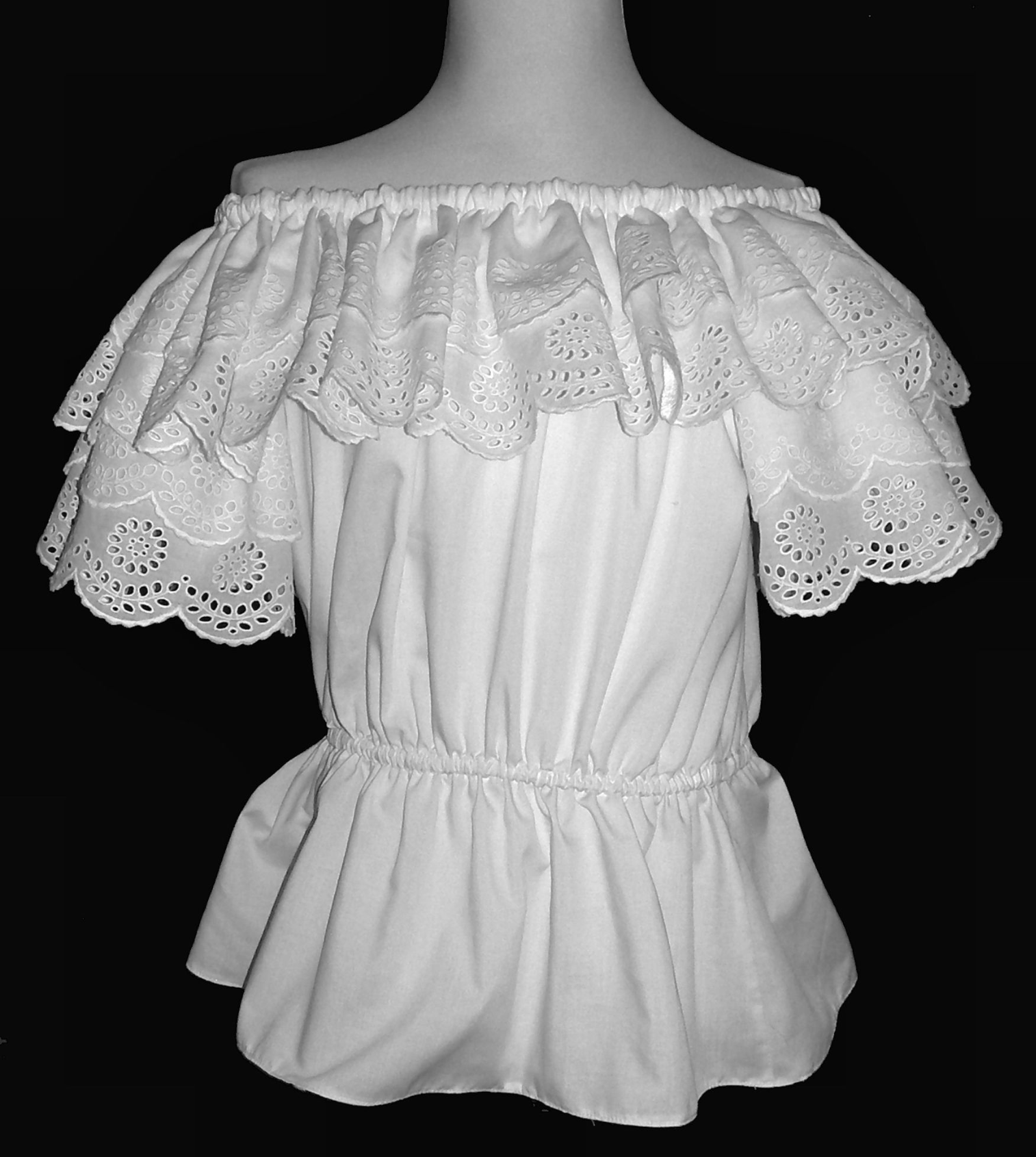 Classic Peasant Blouse with Double Ruffled Eyelet-lace