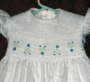 Hand Smocked Dress with Blue and Yellow Flowers and Green Blue Stitches - Isabel