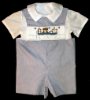 Boys Fishing Cat Shortalls - Romper - Shirt - Set