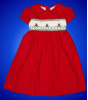 Red Christmas Dress with White Hand Smocked Insert - Amparo
