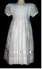 Hand Smocked Whole Bodice High Yoke White Dress -Victoria