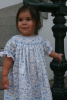 Bishop blue print Hand smocked dress