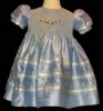 Hand Smocked Blue Silk Dress – Free Bow - Mildred