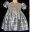 Hand Smocked Blue Silk Dress – Free Bow - Mildred (SKU: S20081231)