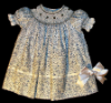 Bishop blue print Hand smocked dress - Ariana