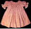 Hand Smocked Bishop dress with white roses smocked onto print background - Virginia (SKU: S2007090215)