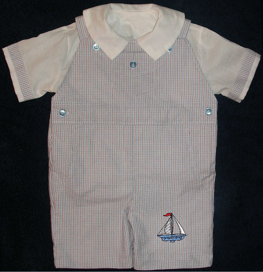 Machine Embroidered Sail Boat Boys Shortall - Romper - Playsuit - Overall - Dungaree