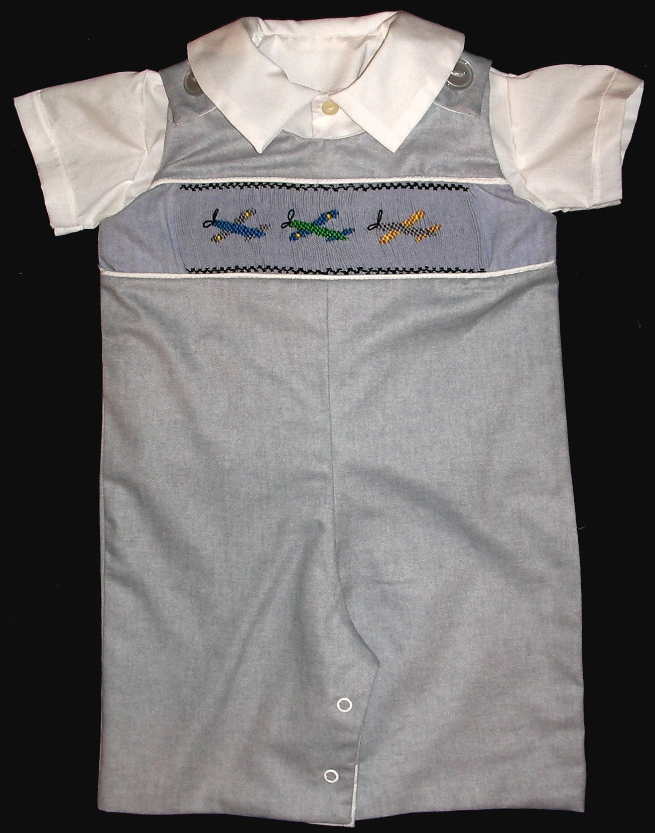Airplanes Boys Blue Shortall - Romper - Shirt - Set