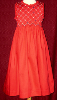 Hand Smocked Whole Bodice High Yoke Red Dress - Leah