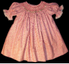 Hand Smocked Bishop dress with white roses smocked onto print background - Virginia